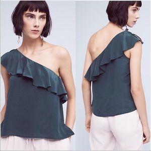 Anthropologie Maeve Green Silk One Shoulder Blouse